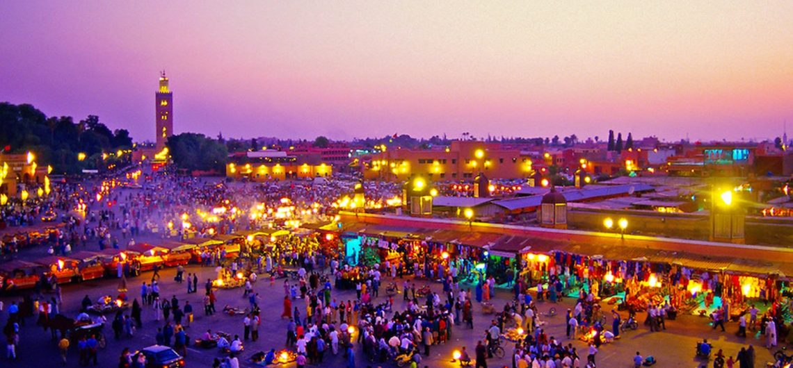 The Djema-el-Fna square is in the heart of Marrakech medina
